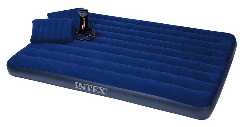 Pripučiamas čiužinys Intex Queen Classic Downy su dviem pagalvėlėmis ir pompa