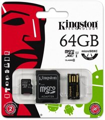 Kingston Multi-Kit microSDHC/SDXC 64GB Class10 + SD и USB адаптер