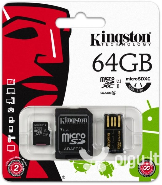 Kingston Multi-Kit microSDHC/SDXC 64GB (10 klasės)