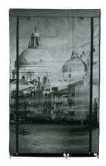 Tekstilinė drabužių spinta Venice, juoda/pilka