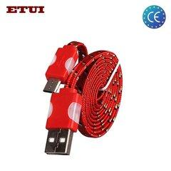 Laidas Etui Flat USB - Micro USB 1.2 m, Raudona