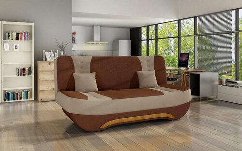 Sofa Ewa II, ruda/kreminė kaina ir informacija | Sofos, foteliai ir minkšti kampai | pigu.lt