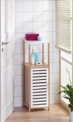 Universali vonios spintelė Bonja 96 cm, ruda/balta