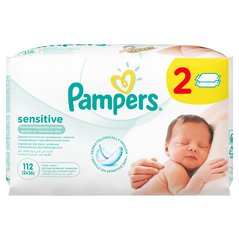 Drėgnos servetėlės PAMPERS Baby Sensitive, 2x56 vnt.​
