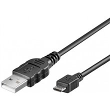 USB connection cable, USB A - Micro USB B, 1m, CU, AWG28, 2x shielded, M/M, UL, black