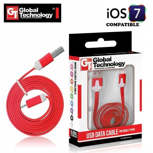 GT plokščias ios7 USB Lightning 8pin laidas skirtas Apple produktams, Raudonas