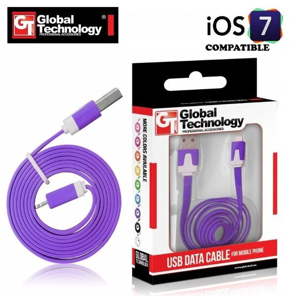 GT plokščias ios7 USB Lightning 8pin laidas skirtas Apple produktams, Violetinis