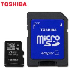 TOSHIBA microSD SDHC 8GB class 4 + adapter