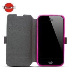 Atverčiamas dėklas Telone Super Slim Shine Book skirtas LG Zero , Rožinis kaina ir informacija | Telefono dėklai | pigu.lt