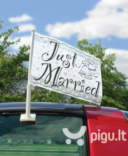 Automobilinė vėliavėlė Just married