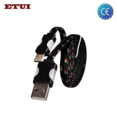 Etui Super Flat Wired 1.2cm Led Flashing Light Universal Micro USB Cable Black