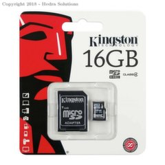 Kingston microSDHC 16GB, 4-tos klasės + SD adapteris